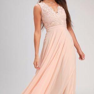 Lulu's Blush Lace Dress w/ Key Hole Back